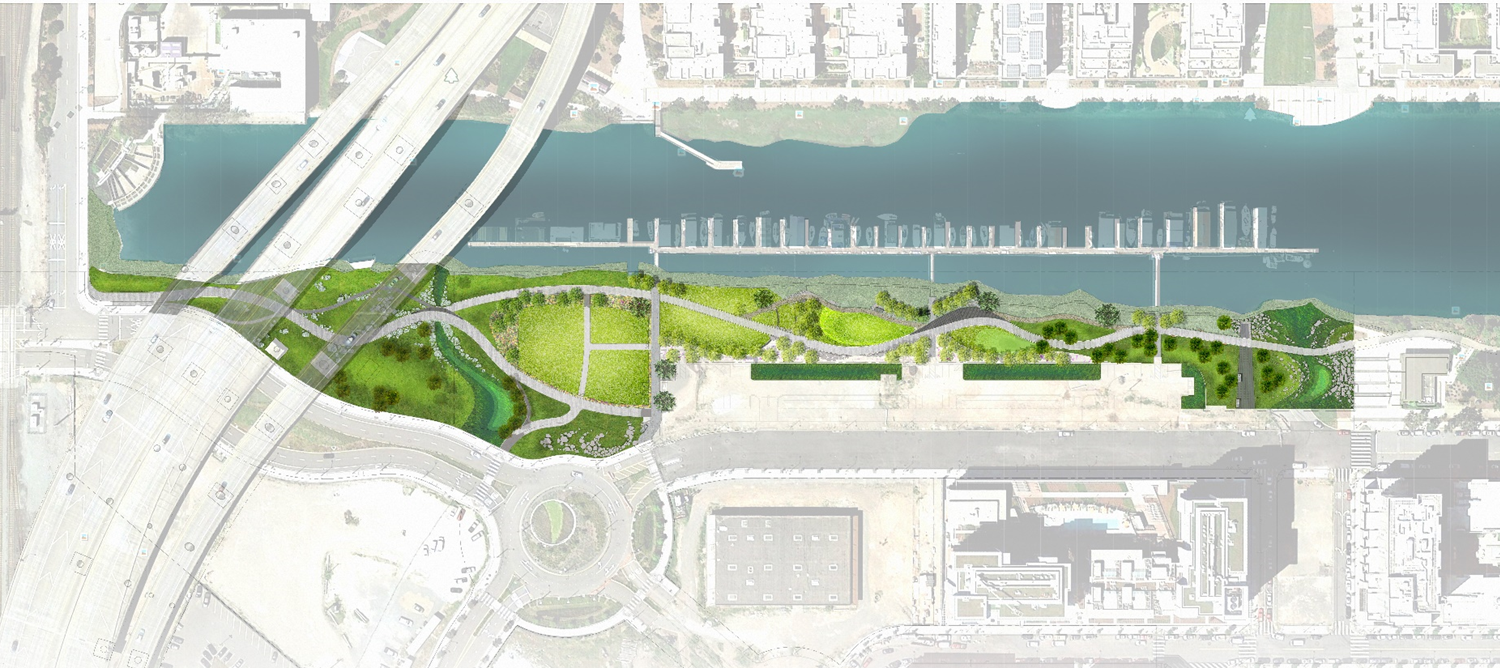 Aerial view of Mission Creek Park area of San Francisco
