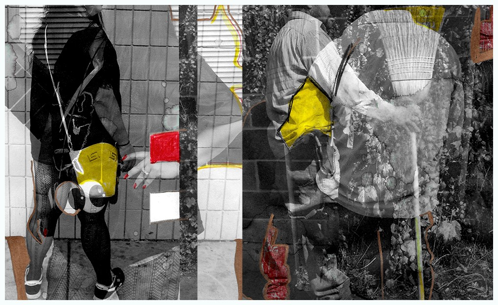 A composite image of figures engaged in various activities on the street.
