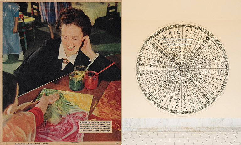 An image of Rhoda Kellogg observing a child painting and another image of a mandala Rhoda developed to identify the stages of child development through mark making.