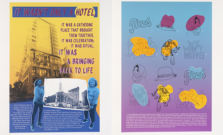 Side by side posters. The first has two women holding a large photo of the I-Hotel. The second has drawings of  images associated with the building and movement to save it.