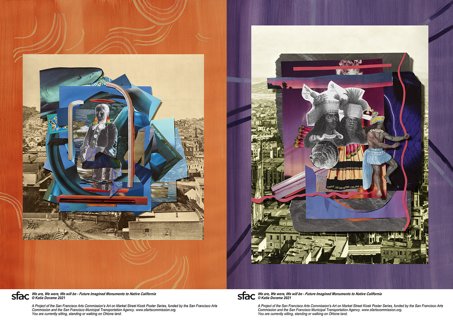 Side by side orange and purple poster with Native Californian imagery