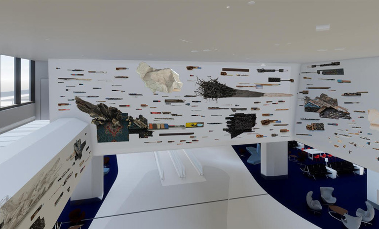 An installation using recycled materials by Leonardo Drew for SFO Harvey Milk Terminal 1