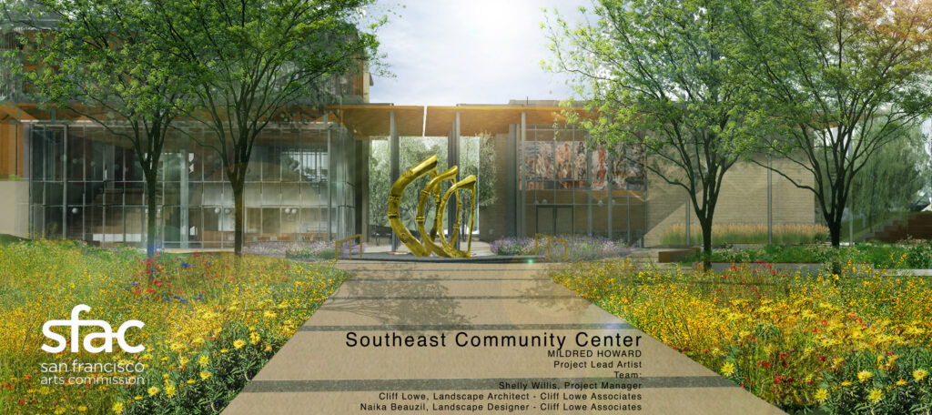 An architectural rendering of the Southeast Community Center, seen from the outside looking down a path. In the pathway, as the walkway opens up to the entrance, is a rendering of Mildred Howard's commissioned sculptures.