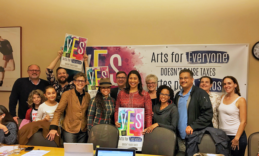 Mayor London Breed with supporters of the Prop E campaign