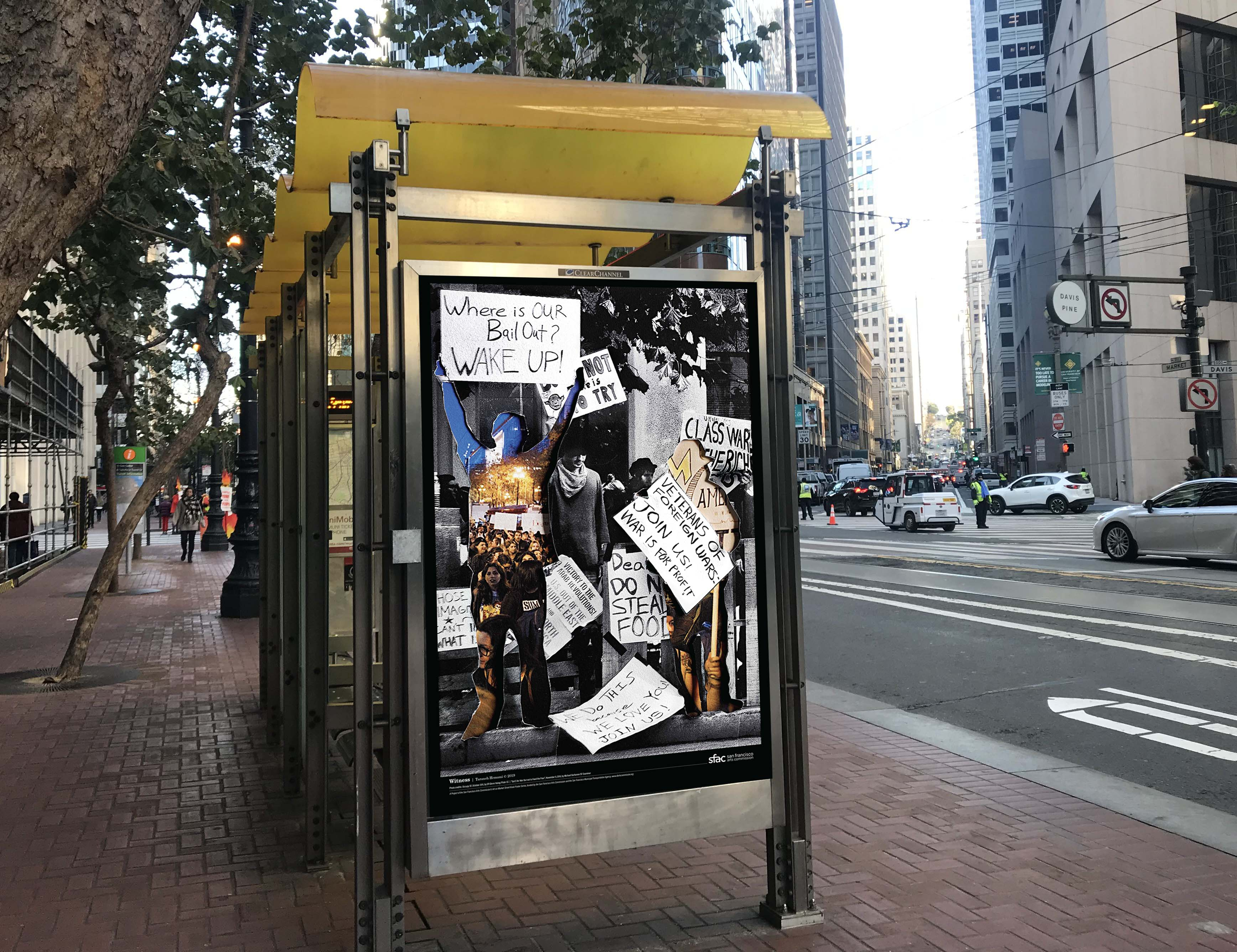 Bus stop with art poster design in kiosk.
