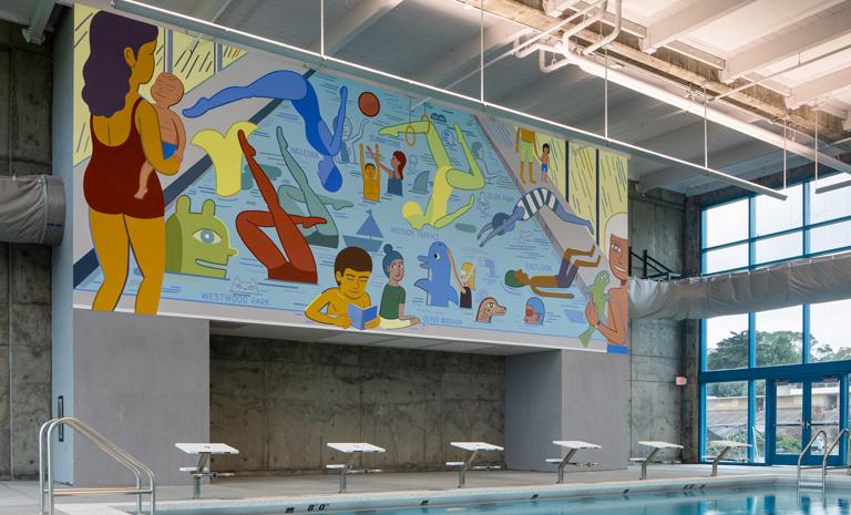 colorful mural by Jason Jagel at Balboa pool.