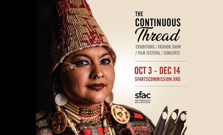Image of a Native American Woman with the title of the initiative The Continuous Thread
